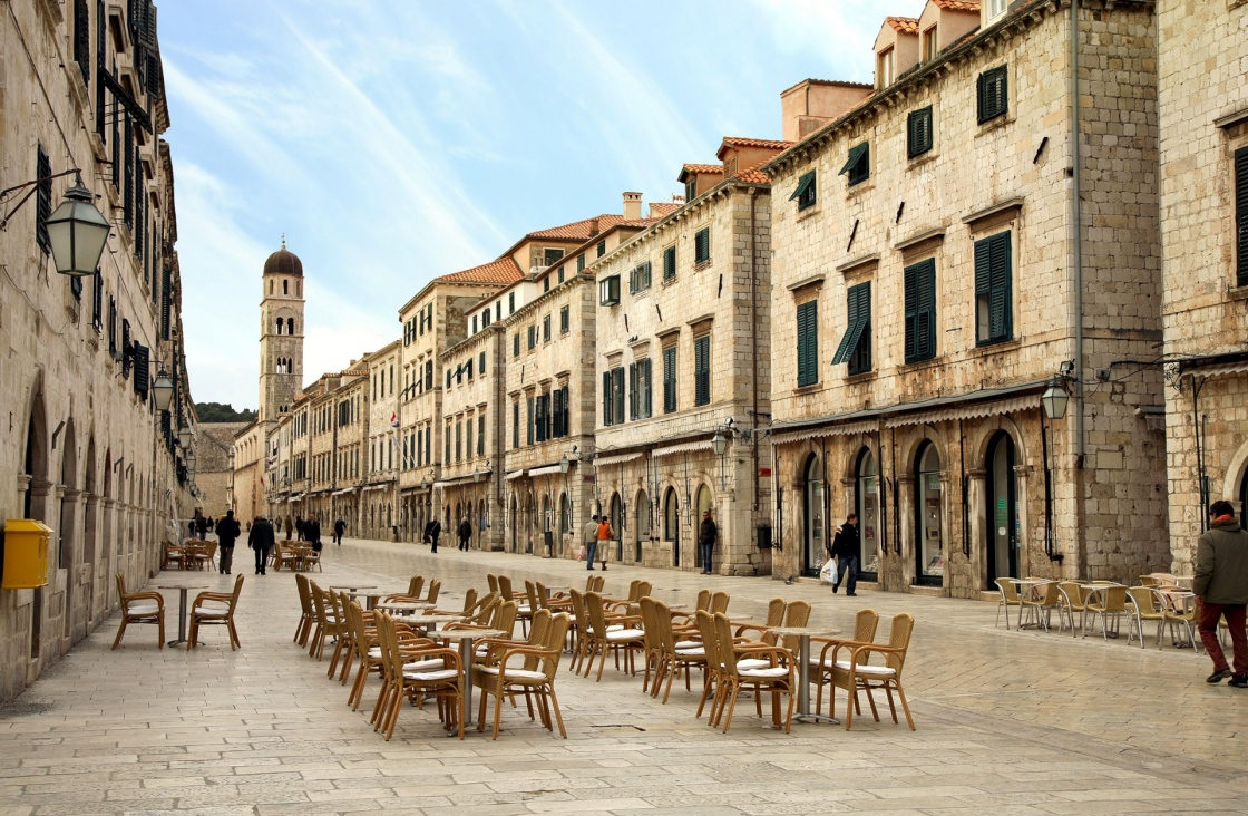 'Strada of Dubrovnik. The Strada is the main shopping street and gathering area in the city of Dubrovnik in Croatia.  Main street by early morning.' - Dubrovnik